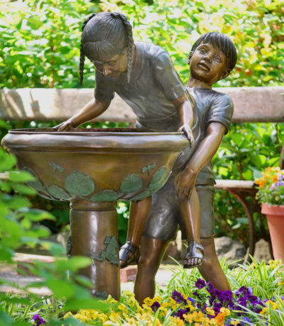 Cast Bronze Metropolitan Galleries Give me a boost Fountain Boy and Girl Brother and Sister Fountain