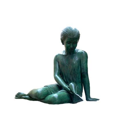 SRB47259 Bronze Sitting Girl Fountain Metropolitan Galleries Inc.