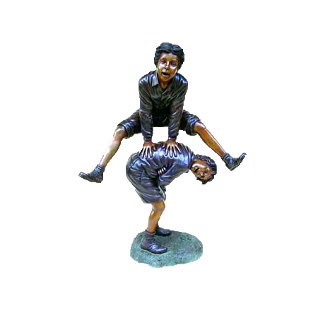 SRB47469 Bronze Children Playing Leapfrog Sculpture Metropolitan Galleries Inc.
