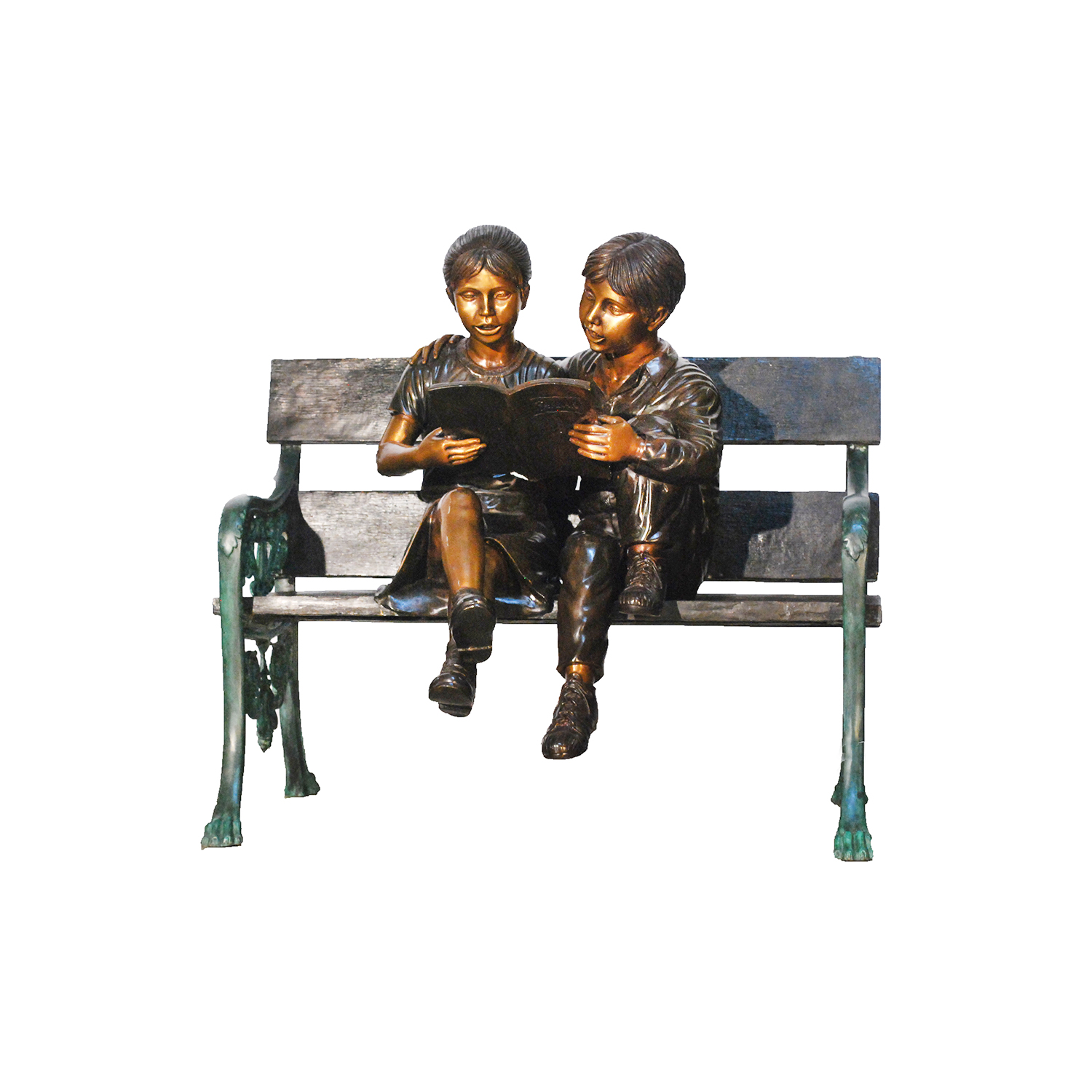 cast bronze children reading on bench