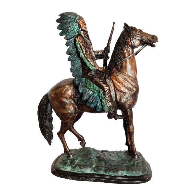 SRB47613 Bronze Indian Dan on Horse Sculpture Metropolitan Galleries Inc.