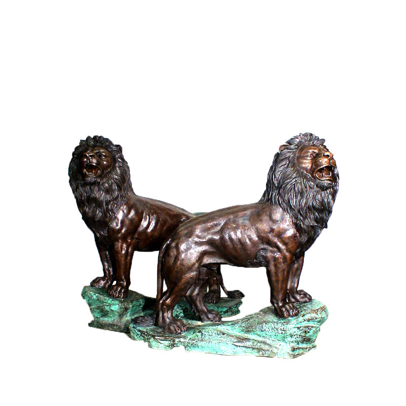 SRB47643 Bronze Lions on Base Set (Small) Metropolitan Galleries Inc.