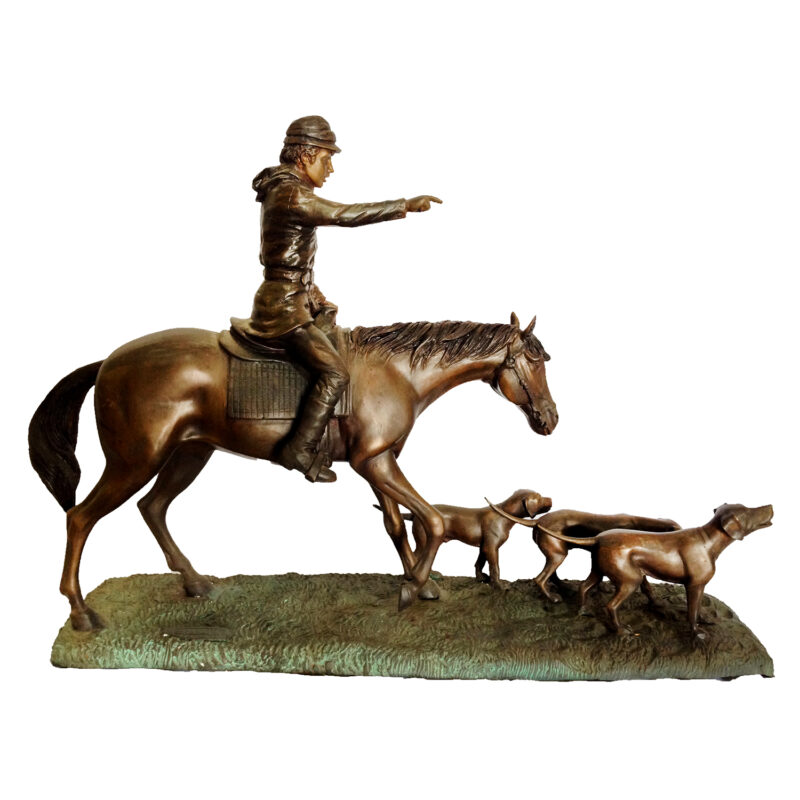 SRB47849 Bronze Hunter on Horse with Dogs Sculpture Metropolitan Galleries Inc.