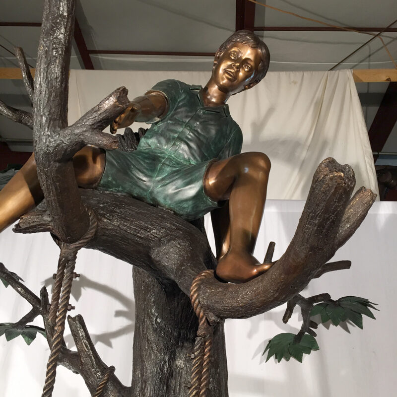 SRB48188 Bronze Children in Treehouse Sculpture Metropolitan Galleries Inc.