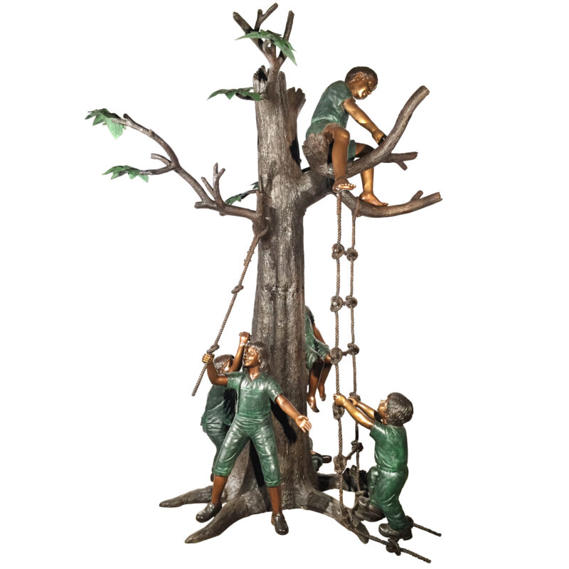 SRB48188 Bronze Children in Treehouse Sculpture Metropolitan Galleries Inc.
