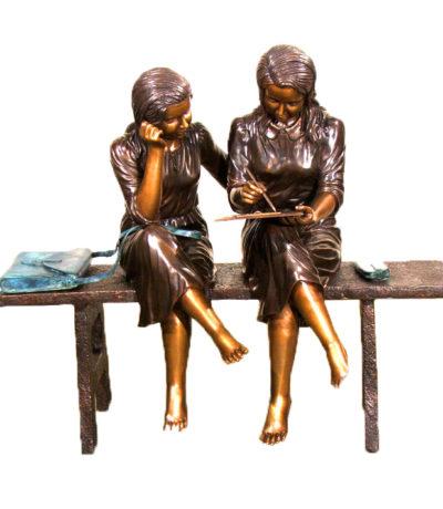 SRB48398 Bronze Girl Artists on Bench Sculpture Metropolitan Galleries Inc.
