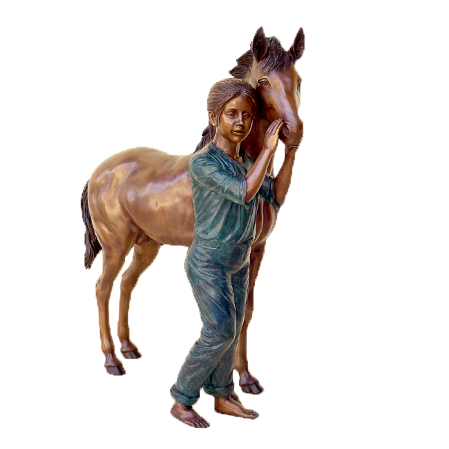 SRB48709 Bronze Girl & Pony Sculpture Metropolitan Galleries Inc.