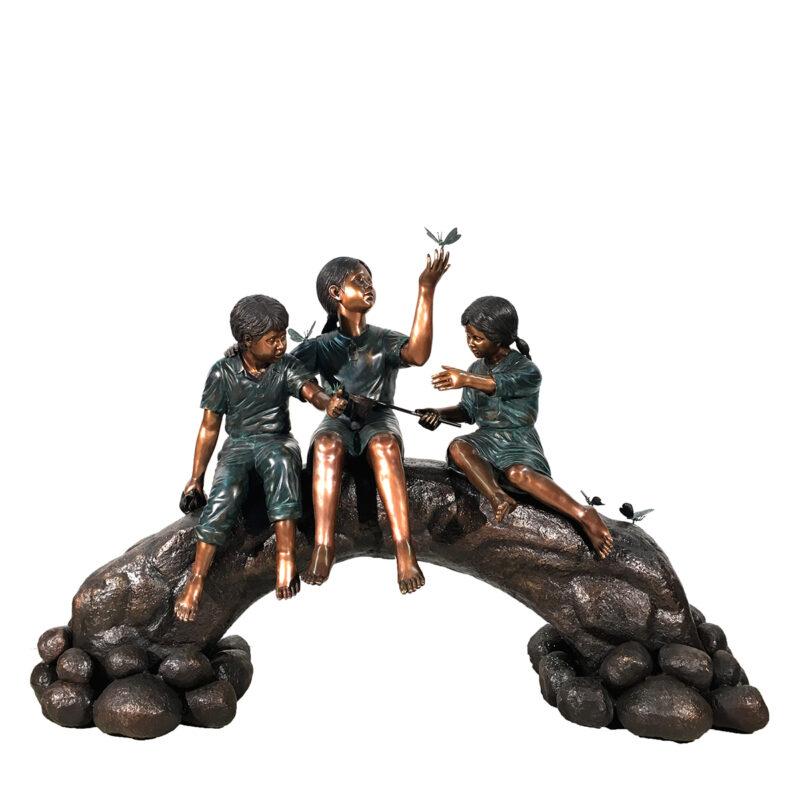 SRB48755 Bronze Children on Log Butterflies Sculpture Metropolitan Galleries Inc.