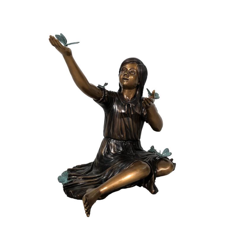 SRB48765 Bronze Nadea with Butterflies Sculpture by Metropolitan Galleries Inc