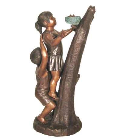 SRB48795 Bronze Children with Bird's Nest Sculpture Metropolitan Galleries Inc.