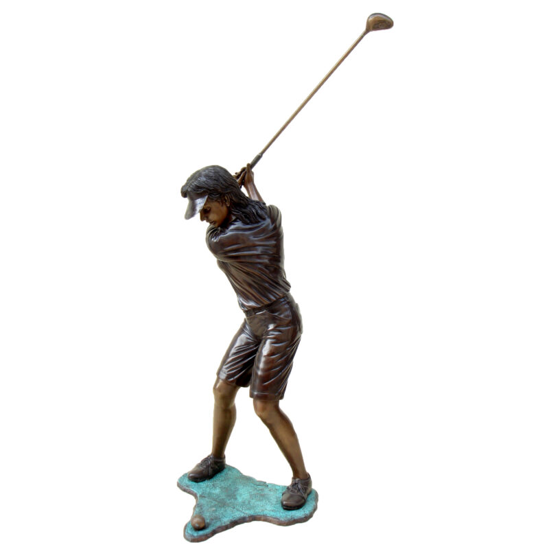 SRB48874 Bronze Girl Golfer Sculpture Metropolitan Galleries Inc.