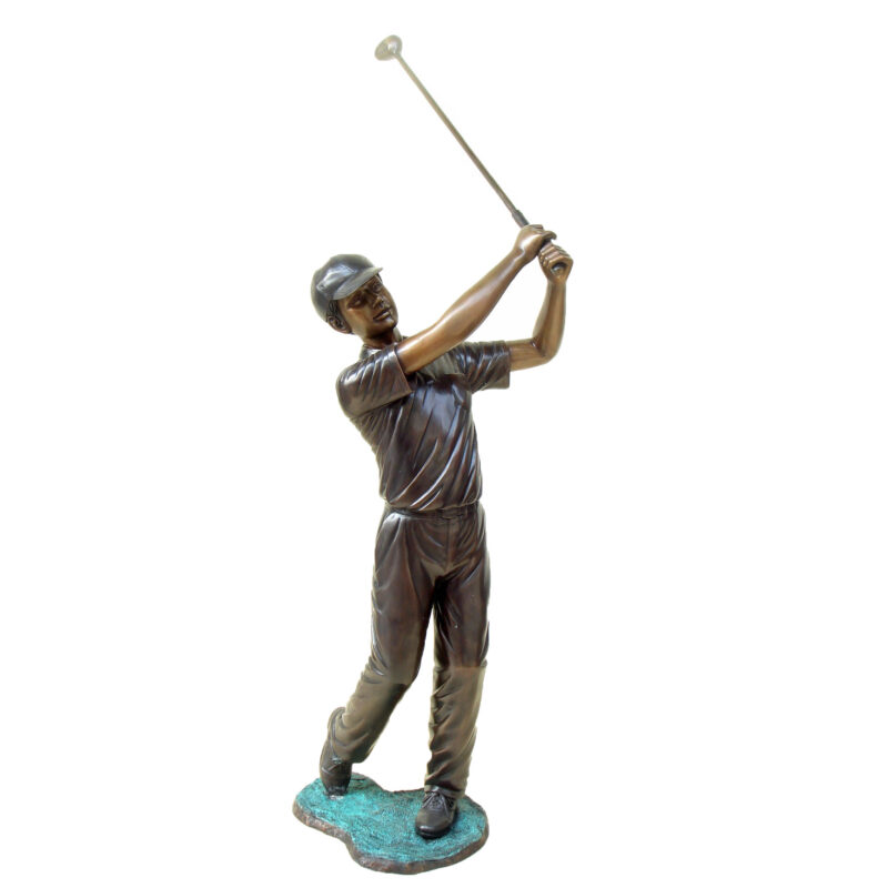 SRB48884 Bronze Boy Golfer Sculpture Metropolitan Galleries Inc.