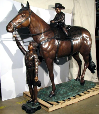 SRB49183 Bronze Cowboy & Girl riding Horse Sculpture Metropolitan Galleries Inc.