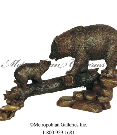 SRB49409 Bear & Cub On Log Sculpture Metropolitan Galleries Inc.