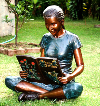 SRB49502 Bronze Girl Reading Book Sculpture Metropolitan Galleries Inc.