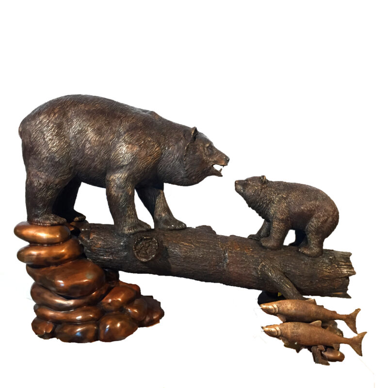 SRB49562 Bronze Bear Family on Log Sculpture Metropolitan Galleries Inc.