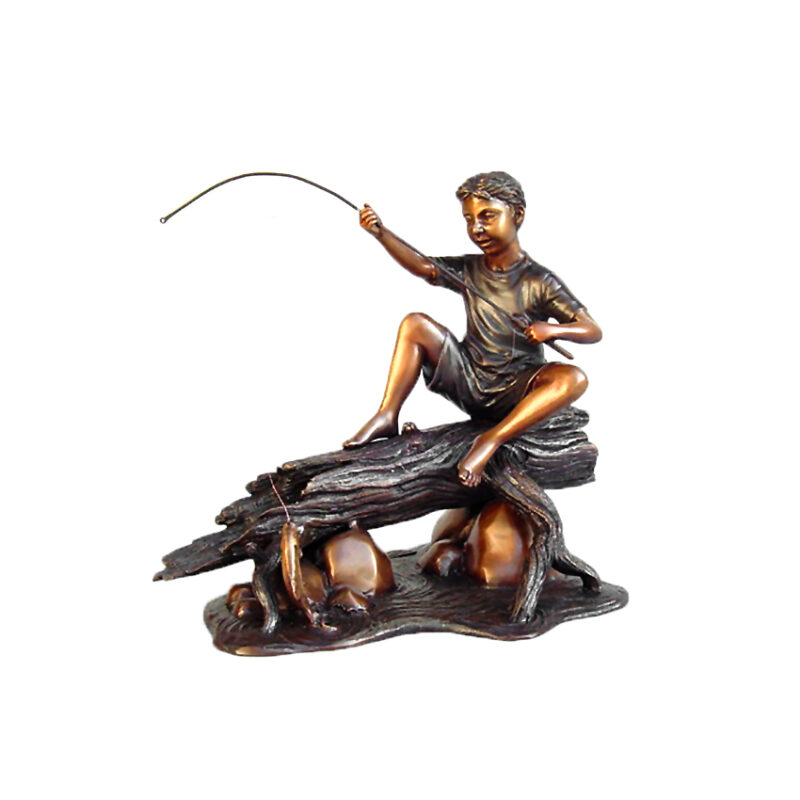 SRB49572 Bronze Boy Fishing on Log Sculpture Table Top Metropolitan Galleries Inc