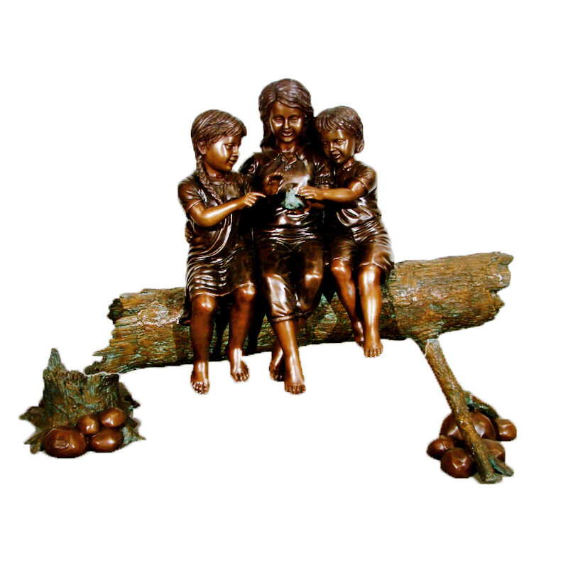 SRB49592 Bronze Children on Log with Bird Sculpture Metropolitan Galleries Inc.