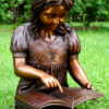 Bronze Girl Reading Book Sculpture