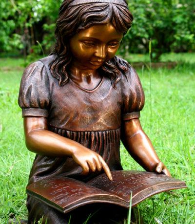 SRB49681 Bronze Girl Reading Book Sculpture Metropolitan Galleries Inc.