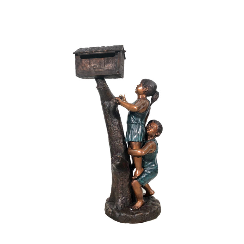 SRB49954 Bronze Boy & Girl Mailbox Sculpture by Metropolitan Galleries Inc