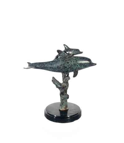 SRB60015 Bronze Dolphin & Baby Sculpture on Marble Base Metropolitan Galleries Inc.