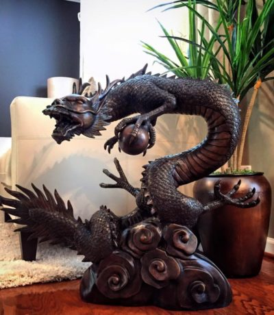 SRB703849 Bronze Dragon with Ball Fountain Sculpture Metropolitan Galleries Inc.