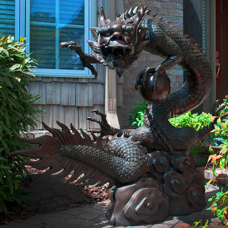 SRB704912 Bronze Large Dragon with Ball Fountain Sculpture by Metropolitan Galleries Inc