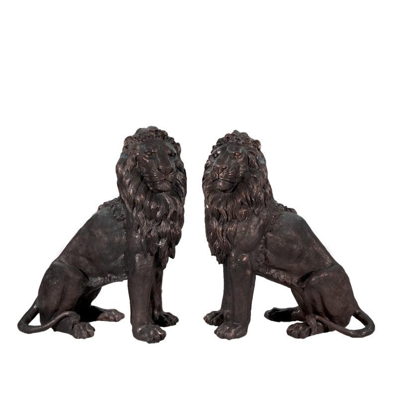 SRB705027 Bronze Large Sitting Lion Sculpture Pair by Metropolitan Galleries Inc
