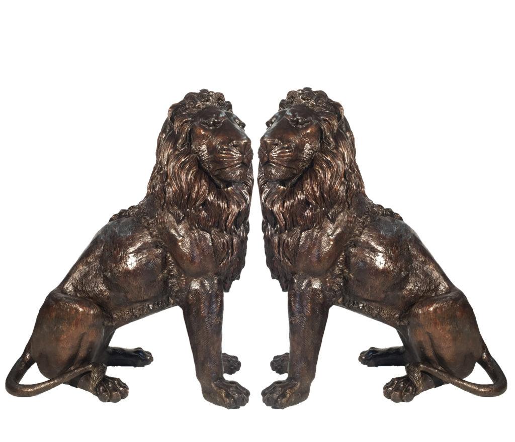 Bronze Sitting Lion Sculpture Set Metropolitan Galleries