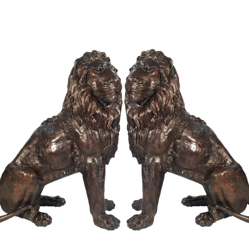 Cast Bronze Sitting Lion Sculpture Set Metropolitan Galleries Inc.