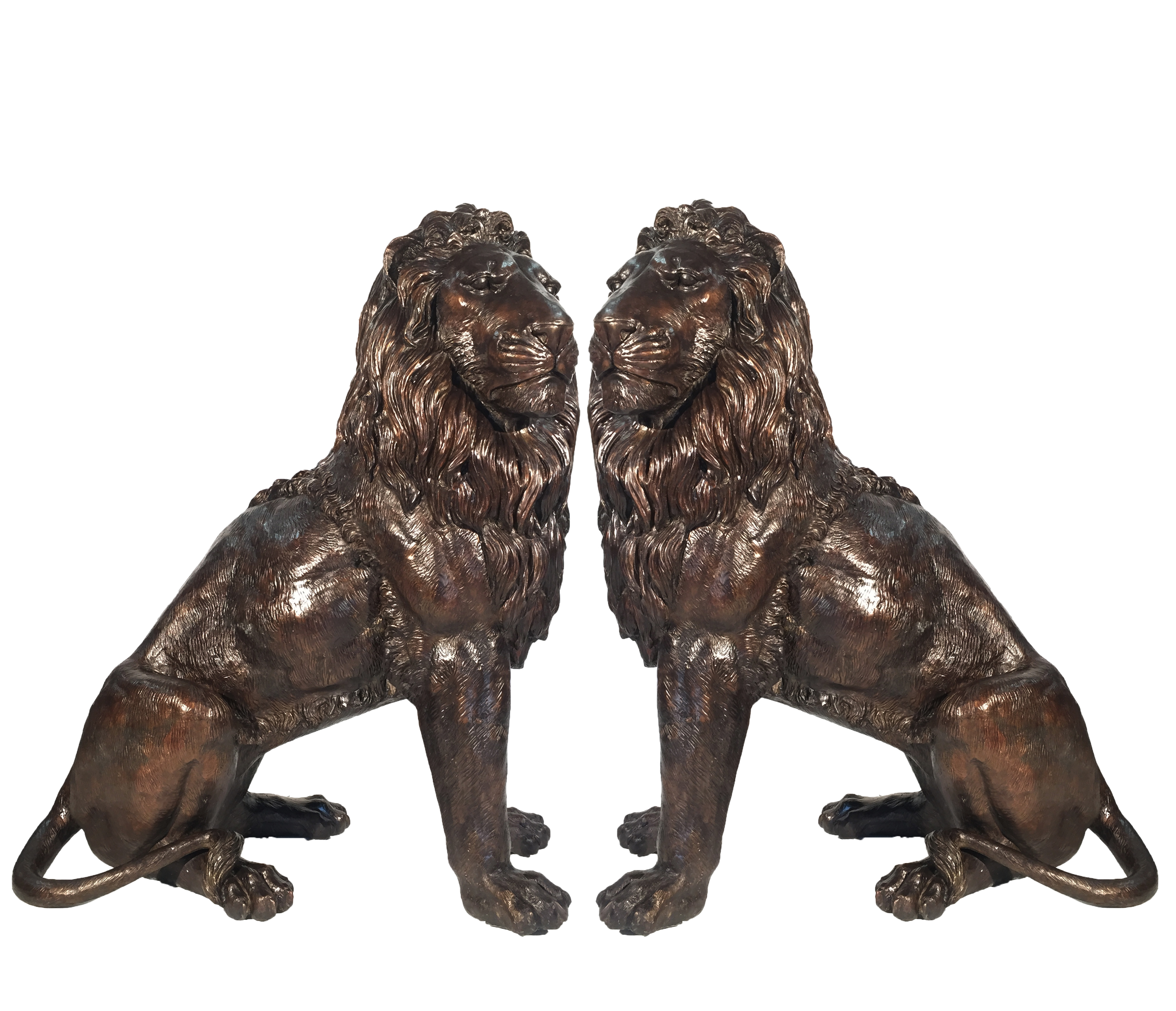 Cast Bronze Sitting Lion Sculpture Set Metropolitan Galleries Inc.