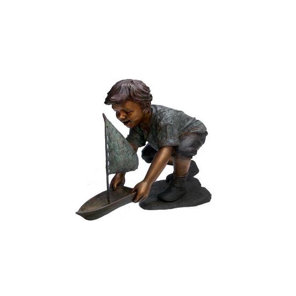 SRB705764 Bronze Little Boy with Sailboat Sculpture by Metropolitan Galleries Inc