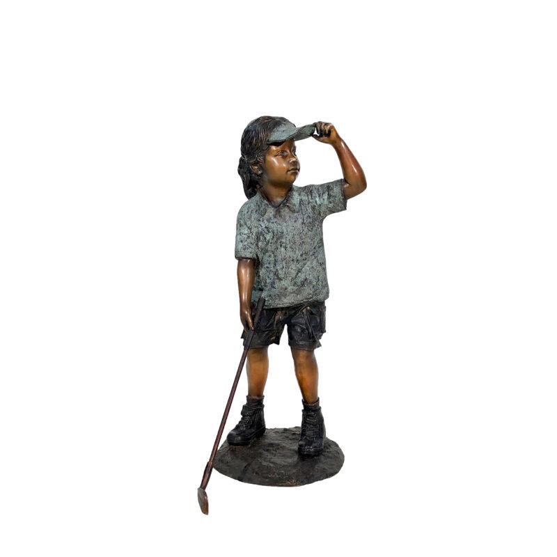 SRB705766 Bronze Girl Golfer Sculpture by Metropolitan Galleries Inc