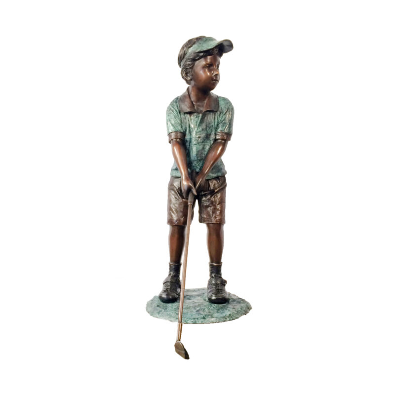 SRB705940 Bronze Boy Golfer Sculpture Metropolitan Galleries Inc.