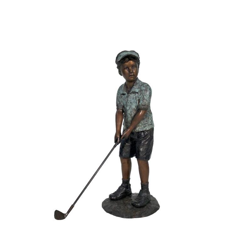 SRB705940 Bronze Little Boy Golfer Sculpture by Metropolitan Galleries Inc