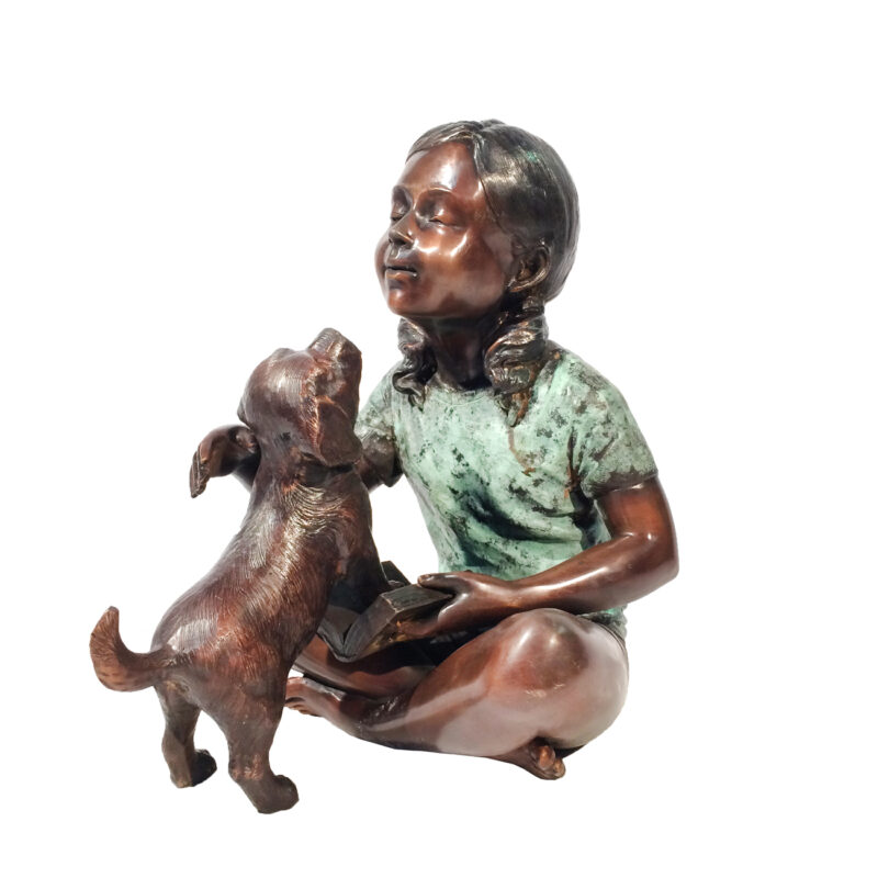 SRB706753 Bronze Girl Sitting with Dog Sculpture Metropolitan Galleries Inc.