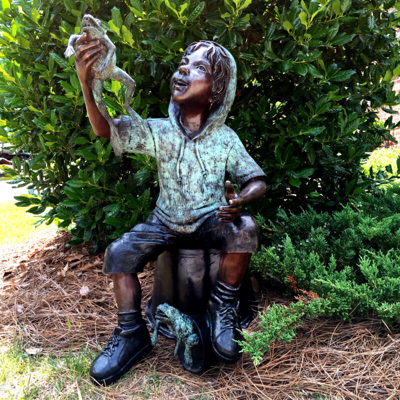 SRB706761 Bronze Boy holding Frog on Bucket Sculpture