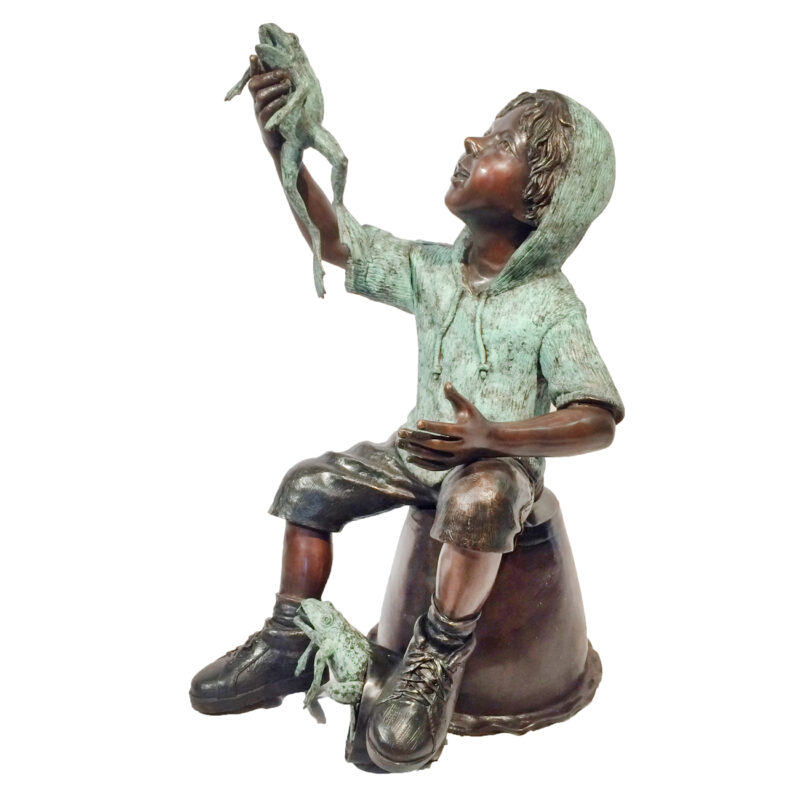 SRB706761 Bronze Boy on Bucket with Frog Sculpture Metropolitan Galleries Inc