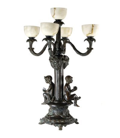 SRB83011 Bronze Boys Candelabra Lamp Sculpture Metropolitan Galleries Inc