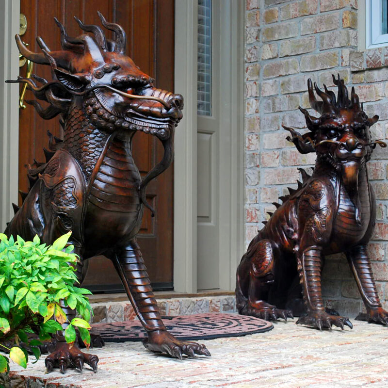 SRB86022-23 Bronze Chinese Foo Dragon Sculpture Pair Metropolitan Galleries Inc.