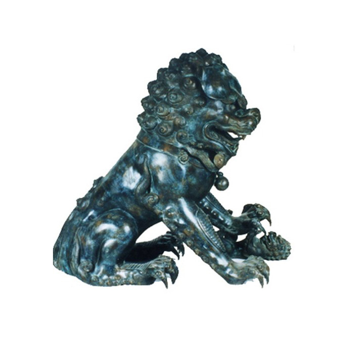 SRB86030 Bronze Chinese Lion with Ball Sculpture Metropolitan Galleries Inc.