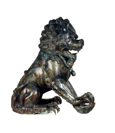 SRB86031 Bronze Chinese Lion with Baby Sculpture Metropolitan Galleries Inc.