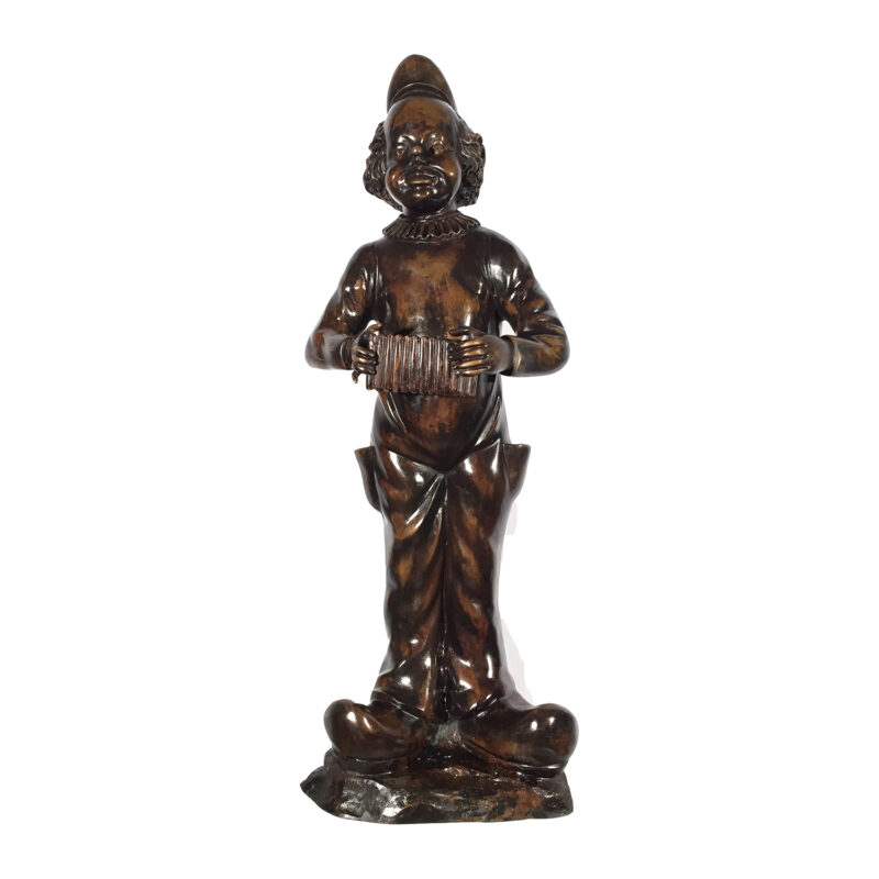 SRB96028 Bronze Clown Playing Accordion Sculpture Metropolitan Galleries Inc.