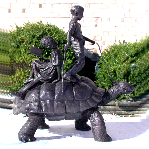 SRB96091 Bronze Children on Turtle Fountain Sculpture by Metropolitan Galleries Inc