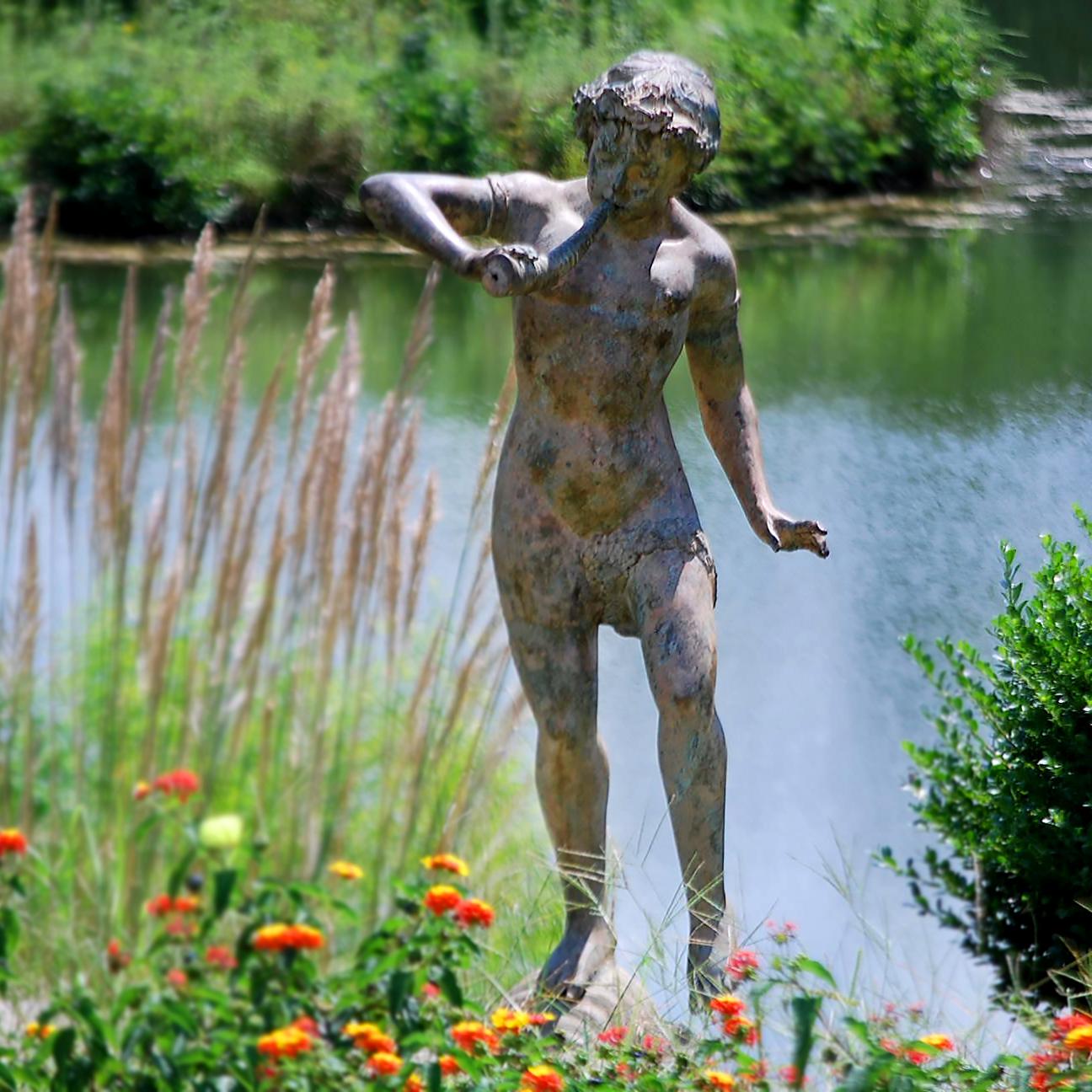 Bronze Boy Playing Horn Fountain Sculpture Metropolitan