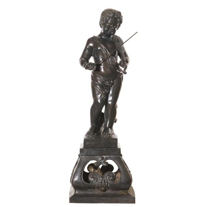 Bronze Boy Playing Violin Sculpture | Metropolitan Galleries