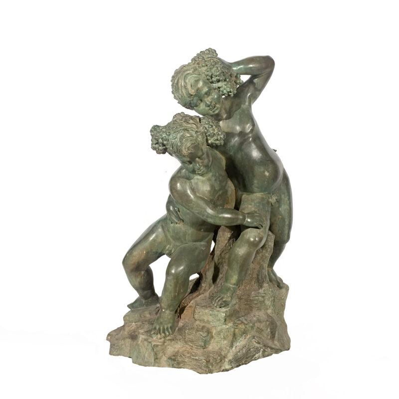 SRB992231 Bronze Two Boys on Rock Sculpture Metropolitan Galleries Inc.