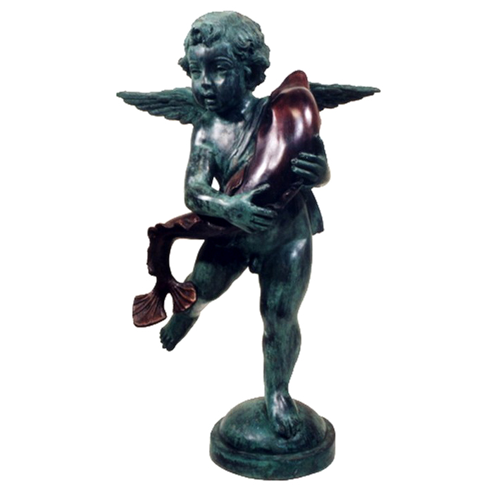 SRB992235 Bronze Cupid with Dolphin Fountain Sculpture Metropolitan Galleries Inc.