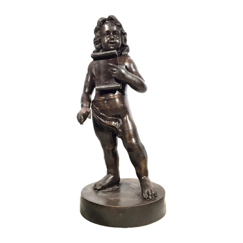 SRB992272 Bronze Boy with Musical Notebook Sculpture Metropolitan Galleries Inc.